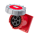 CEE Flanged Panel Sockets Straight(Straight Industrial Panel Sockets)(Flush Mounted Panel Sockets Straight) 63A 3P+N+E IP67 6H HTN4351