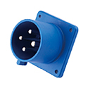 CEE Flange Inlet Straight ( Straight Panel Mounted Inlet)(Straight Flush Mounted Plug) 16A 3P+E IP44 9H HTN614-9
