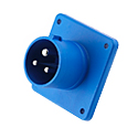 CEE Flange Inlet Straight ( Straight Panel Mounted Inlet)(Straight Flush Mounted Plug) 32A 2P+E IP44 6H HTN623