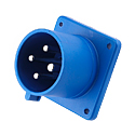 CEE Flange Inlet Straight ( Straight Panel Mounted Inlet)(Straight Flush Mounted Plug) 32A 3P+E IP44 9H HTN624-9